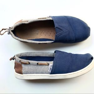 Tom's Navy Blue and Leather Slip on Shoes
